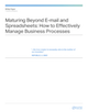 Maturing Beyond E-mail and Spreadsheets: How to Effectively Manage Business Processes