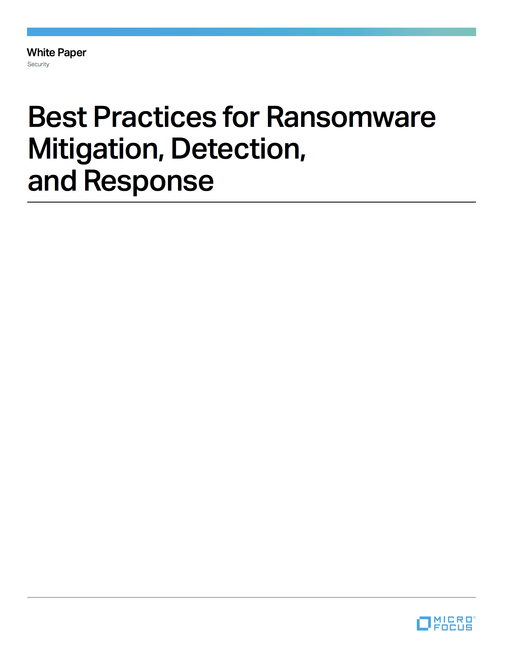 Ransomware Mitigation, Detection and Response