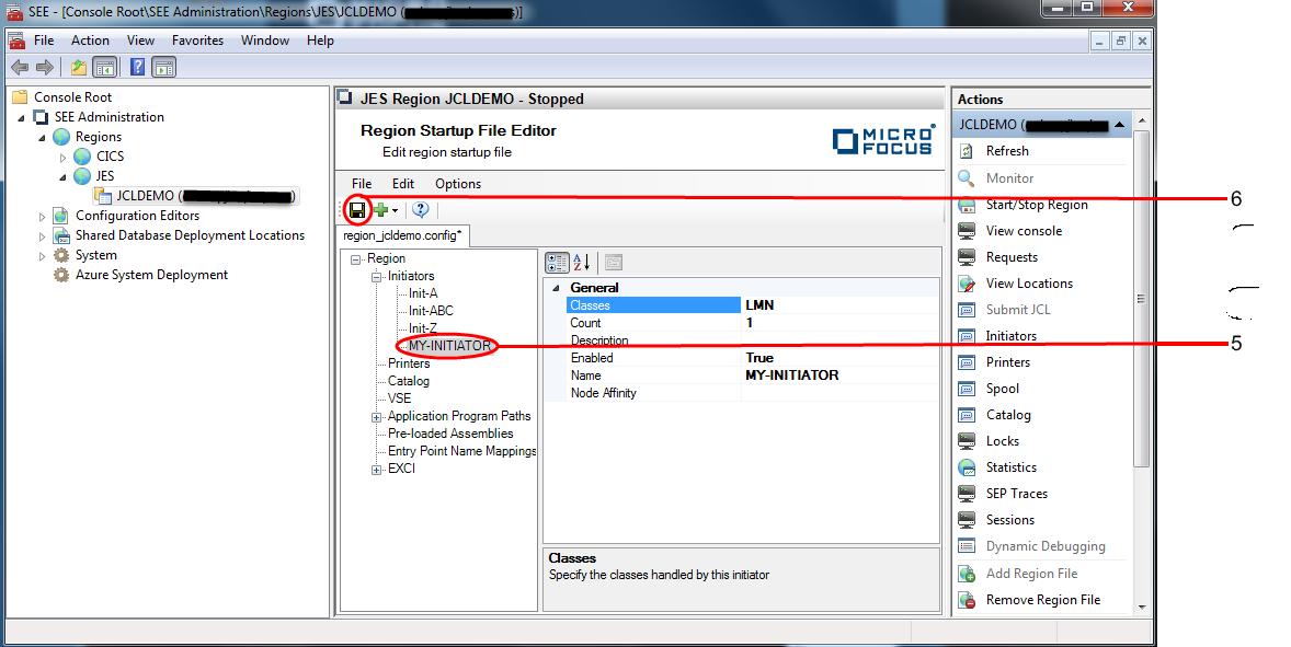 To Configure Initiators in a JES Region Startup File