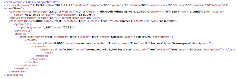 Example - test results NUnit format
