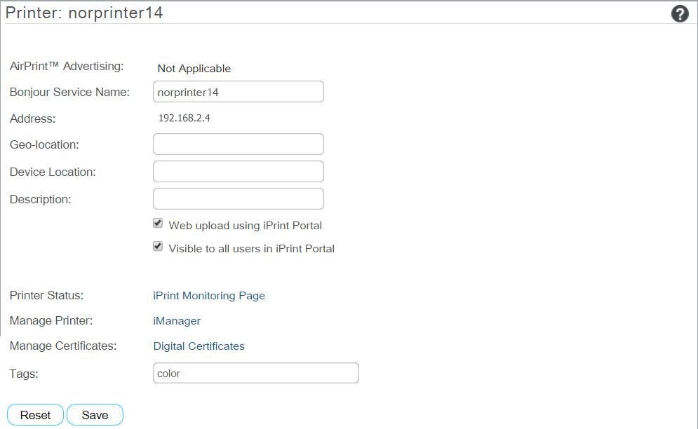 iPrint Appliance Configuration - Micro Focus iPrint