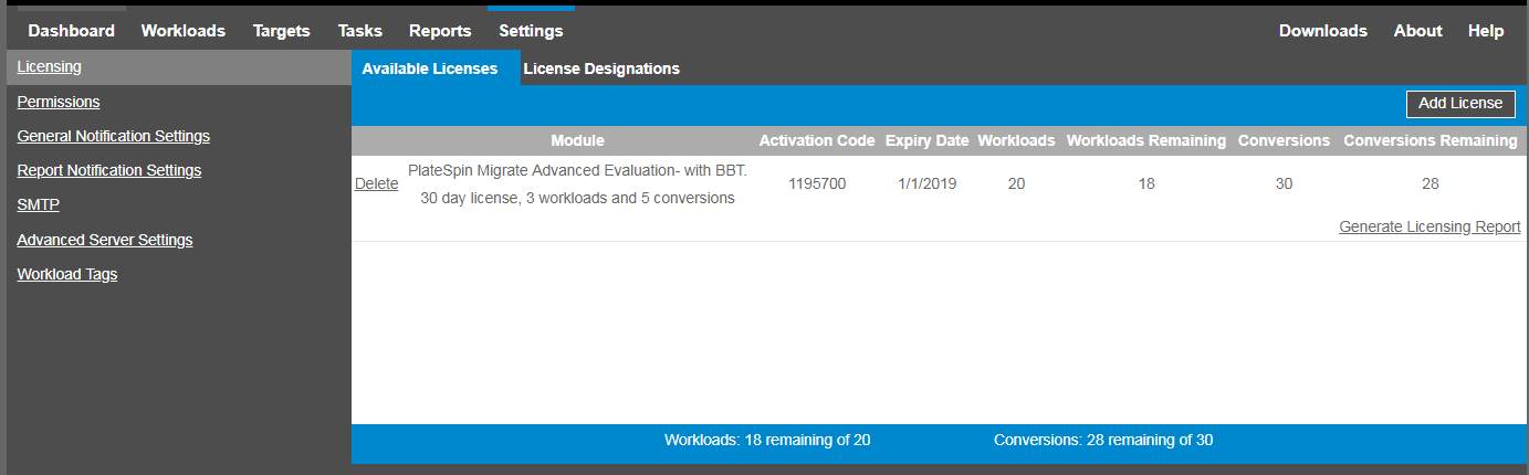 PlateSpin Migrate Product Licensing - PlateSpin Migrate 2018 11 User
