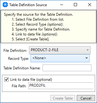 Creating a Table Definition